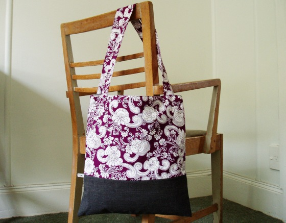 Shoulder Bag in rich royal purple paisley with dark gray wool