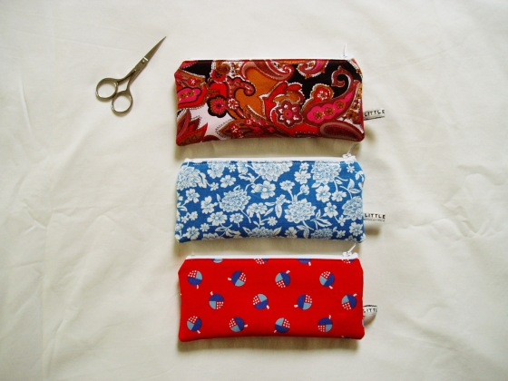 Pencil Cases in bright Vintage fabrics